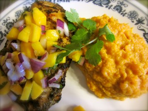 Jerk Chicken, Mango Salsa with Mint, and Sweet Potato Smash