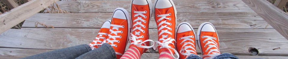 Sporting our awesome Orange Converse Hightops
