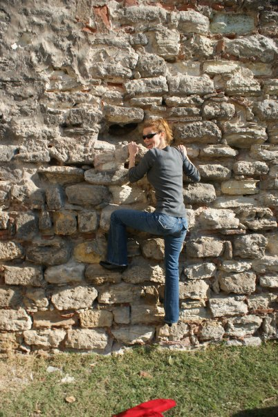 My pathetic attempt to scale a wall in heeled boots in Istanbul (incidentally, on a spectacularly fun first date)